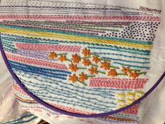 Summer Line Sampler by Dropcloth in progress, embroidered by Cobbie