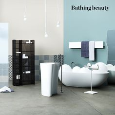 BATHROOM – Background: 'Parma Gray',  'Oxford Stone' and 'Oval Room Blue' emulsions, all Farrow & Ball (win  a £250 spend; farrow-ball.com) From left: 'Towel Ladder' by Norm Architects, £318, Menu (menu.as). 'Senso Wash Stark C' shower toilet by Philippe Starck with concealed connections by Darling New, £1,801, Duravit (duravit.co.uk). 'Sigma 50' flushplate by Christoph Behling, £239, Geberit (geberit.co.uk). 'Azulej' porcelain tiles by Patricia Urquiola for Mutina, Surface (win a £500 ...