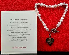 RED ENVELOPE SOULMATE BRACELET Freshwater Pearls Sterling Silver Charm Heart Bag #RedEnvelope #Charm 40% OFF SALE! FREE US SHIPPING! Hundreds of fun, unique & beautiful items on sale in our ebay store: www.TerminusCity.com
