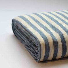 Lovely soft organic cotton fabric with white and blue pinstripe. A good weight for clothing and interior projects. wide price per meter Bella Dresses, White Strips, Cut And Color, Fabric Patterns, Dressmaking, Yarns, Organic Cotton, Sewing Projects, Fabrics