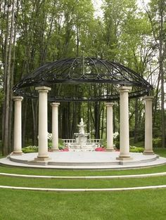 This large gazebo hangs over a fountain and has been placed in front of a garden. This is a decorative structure meant to bring depth and design to the fountain and garden. The gazebo makes the space feel more grand and important. Outdoor Gazebos, Backyard Gazebo, Garden Gazebo, Ponds Backyard, Pergola Patio, Pergola Kits, Backyard Waterfalls, Garden Ponds, Koi Ponds