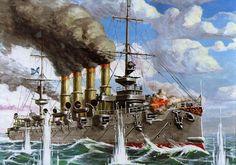 El heroico crucero ruso Varyag durante el combate de Chemulpo. Más en www.elgrancapitan.org/foro