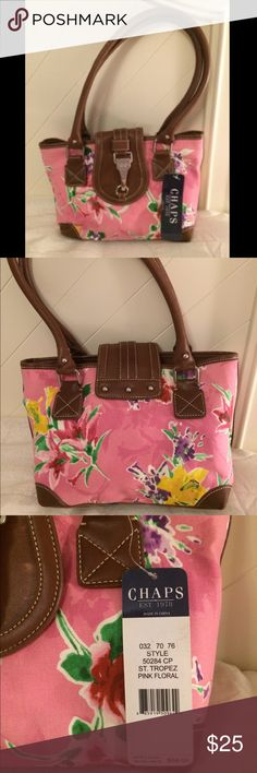 Pink floral bag Very summery and stylish St. Tropez floral bag. Includes 2 zippers on the inside one in the middle and one smaller one on the back. Never worn, new with tags. Chaps Bags Shoulder Bags