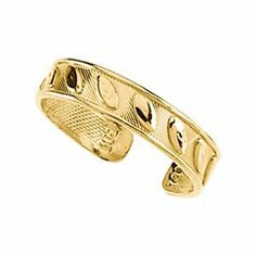 14k Yellow Gold Toe Ring With Design - JewelryWeb JewelryWeb. $123.10