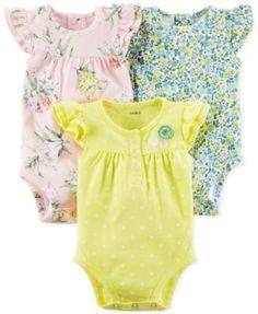 Carter's 3-Pk. Cotton Flutter-Sleeve Printed Bodysuits, Baby Girls (0-24 months) | macys.com