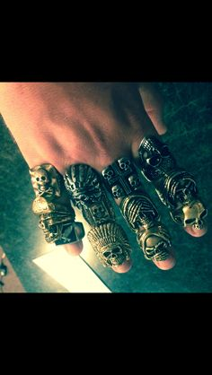 Some of the ring collection. Trades welcome. Looking for Mexican biker style rings