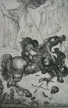 grabado al aguafuerte por Salvador Dalí, imagen creada por modelación