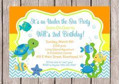 Under the Sea Birthday Invitation Ocean Invitation Fishy