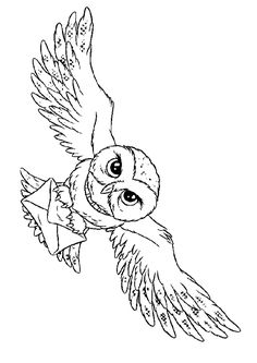Hedwig Harry Potter's owl coloring page
