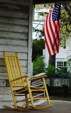 yellow Rocking Chair and American Flag by ArtyZen Studios - ArtyZen Home