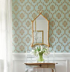 Thibaut - Wallpaper and Fabric    Bastille   metalic gold on seafoam and mirror