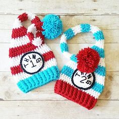 Crochet Dr. Seuss Thing 1 Thing 2 Striped Beanie Stocking Cap Set Infant Newborn Baby Toddler Handmade Baby Shower Gift Twins