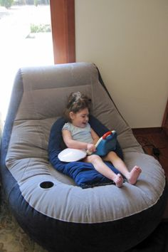 Inflatable Lounge Chair adapted with leggings for support.