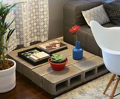 mesa lateral em bloco de cimento