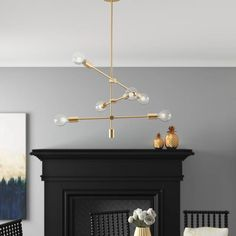 Mercer41 Dycus 6 - Light Sputnik Modern Linear Chandelier & Reviews | Wayfair Mobile Chandelier, Decor, Linear Chandelier, Ceiling Lights, Modern, Traditional Chandelier, Light, Chandelier, Lantern Lights