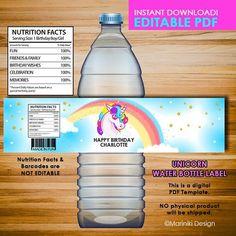 Unicorn Water Bottle Labels Unicorn Water Bottle Wrappers