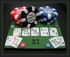 Gorgeous Poker Cake! See more: http://www.internetbet.com/casino-cakes/ #pokerparty #cakeart #cakeideas