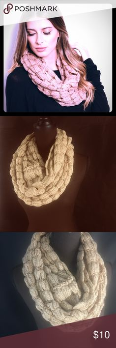 Cream Tan Knit Infinity Scarf Adorable Infinity scarf with gold sequins, new in package! Accessories Scarves & Wraps