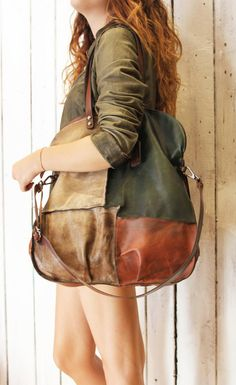 "Handmade Italian vintage Leather Tote bag ""PACH BAG"" di LaSellerieLimited su Etsy"