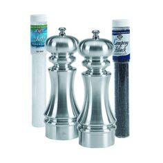 """LTD Brushed Metal Salt and Pepper Mill Set with Refills (7"""" Brushed metal mill set w/refills)"""