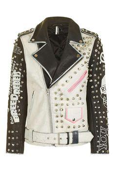 Studded Biker Leather Jacket - Topshop