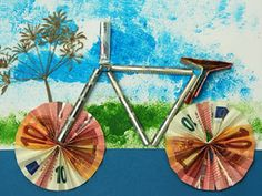 Bicycle as a gift of money – Invitation 2020 Frog Crafts, Diy And Crafts, Fun Wedding Invitations, Birthday Invitations, Oragami Money, Anniversary Parties, Holidays And Events, Friends In Love, Diy Gifts