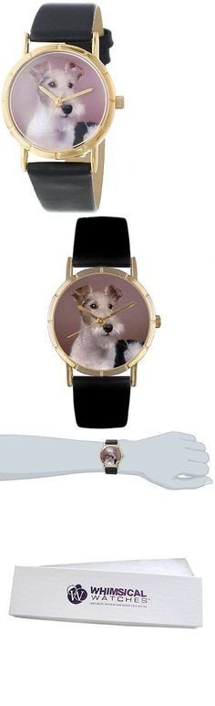 Other Wholesale Wristwatches 40133: Whimsical Watches Kids P0130039 Classic Fox Terrier Black Leather And Goldtone BUY IT NOW ONLY: $37.48