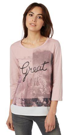 3/4 Arm-Shirt mit Artwork für Frauen (unifarben mit Print, 3/4 Arm mit Rundhalsausschnitt) - TOM TAILOR