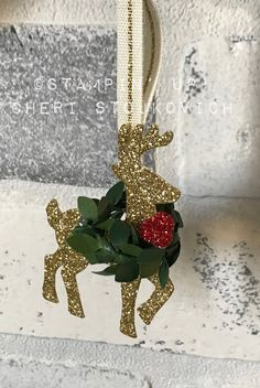 Rustic Plaid and  Simple Christmas Decor' - using Big Shot and Stampin' Up! Embellishments.  Gold Glitter Deer with Wreath.  Tutorial  How to included