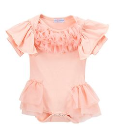 Another great find on #zulily! Pink Ruffle-Sleeve Bodysuit - Infant #zulilyfinds