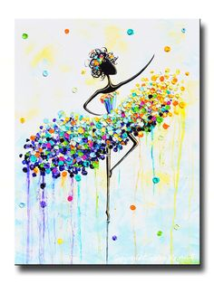 "GICLEE PRINT Art Abstract Dancer Painting Aqua Blue CANVAS Prints White Yellow Green Colorful Wall Decor MATCHING SET of 2 Sizes to 60"" -Christine"