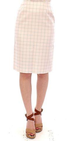 Andrea Incontri White Cotton Checkered Pencil Skirt