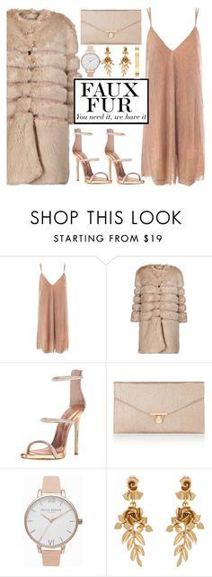 """Faux Fur coats #7"" by the-face-of-style ❤ liked on Polyvore featuring Sans Souci, AINEA, Giuseppe Zanotti, Accessorize, Olivia Burton, Oscar de la Renta and Anne Klein"