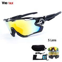 af8d8b0f7dd952 Wind Talk 5 Lens Mtb Bike Outdoor Sport Cycling Glasses Polarized Running  Riding Bike Sunglasses Men