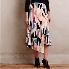 """Anthropologie midi knit skirt Graphic print, yes please! Effortless pull in styling. Detailed waistband for added versatility. 32.25"""" L. Vanessa Virginia for anthropologie, marini wrap skirt! Anthropologie Skirts Midi"""