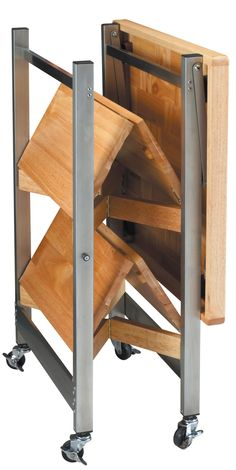 Amazon.com - Oasis Concepts Stainless Steel/Wood Folding Kitchen Island, Natural - Kitchen Storage Carts