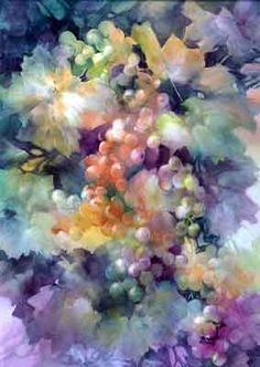 Champagne Grapes, porcelain painting by Paula White