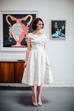 Vintage 1950s Satin Brocade Wedding Dress