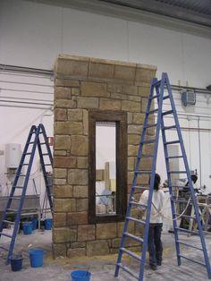 Muro de Piedra en poliespan para Stand. Decorado. Realiazación: www.poliespan.com