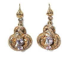 Antique drop jeweled earrings circa 1850