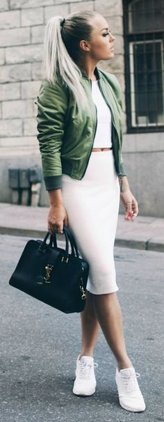 Add a splash of colour to an all white outfit by wearing this green jacket over a white crop top and skirt combo. Via Angelica Blick  Skirt: Zara, Top: River Island, Jacket: ASOS