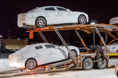 #Maserati #Ghibli's being unloaded in the snow at Morrie's Luxury Auto this winter.