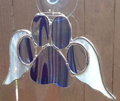 Blue/Clear Stained Glass Paw Print With Angel by langanfamilyfinds