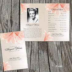 """Soft Floral Blush Pink Funeral or Memorial Program - Bulletin - Order of Service, 8.5"""" x 11"""" or A4"""