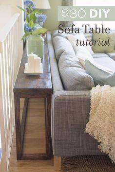 DIY sofa tables are easy and can add a lot to an open room design. This post offers up different ways you can design a sofa table to add space to a room. Diy Sofa Table, Sofa Tables, Console Tables, Narrow Sofa Table, Entryway Console, Sectional Coffee Table, Farmhouse Sofa Table, Sectional Sofas, Dyi End Tables