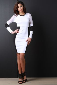 Two Tone Long Sleeve Midi Dress