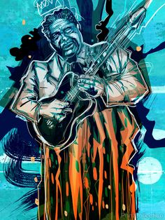 """Thief at the Crossroads"" is a set of 20 portraits of legendary blues musicians by John Jennings. The set of digital mixed media images is inspired by artist John Akomfrah's 1996 film ""The Last Angel"