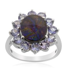 Liquidation Channel - Affordable Canadian Ammolite (Ovl 3.00 Ct), Tanzanite Ring in Sterling Silver Nickel Free (Size 9) TGW 5.00 cts.