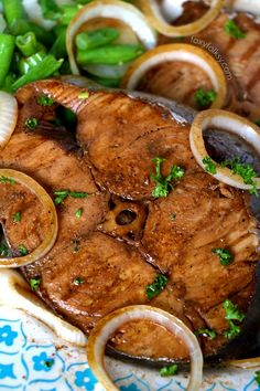 Fish Steak (Mackerel)Filipino style is part of Fish Steak Mackerel Tanigue Filipino Style Foxy Folksy - Try this fish steak recipe using Mackerel or Tuna fish, some soy sauce, lemon juice and onions! A very simple fish recipe that is done in a jiffy! Fish Steak Recipe, Tuna Steak Recipes, Mackerel Recipes, Easy Fish Recipes, Asian Recipes, Easy Meals, King Fish Recipe, Fish Recipe Filipino, Eating Clean