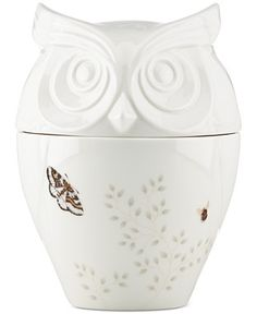 Owl Cookie Jar from Lenox Butterfly Meadow Collection.  Pinned by www.myowlbarn.com